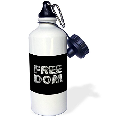 3dRose Alexis Design - Holidays Independence Day - Star light stylized text Freedom, black background. Independence Day - 21 oz Sports Water Bottle (wb_285916_1) by 3dRose