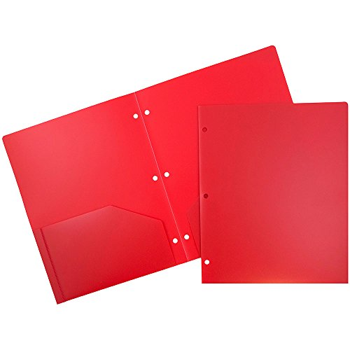 JAM Paper 2 Pocket 3 Hole Punched Plastic Presentation School Folder - Red - Sold Individually