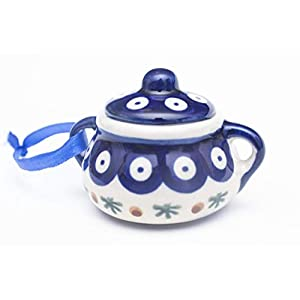 "Manufaktura W Boleslawiec Polish Pottery Accented Peacock Blue Dot Sugar Bowl Handmade Ceramic Christmas Ornament, 3.25""Dia. x 2.5""H"