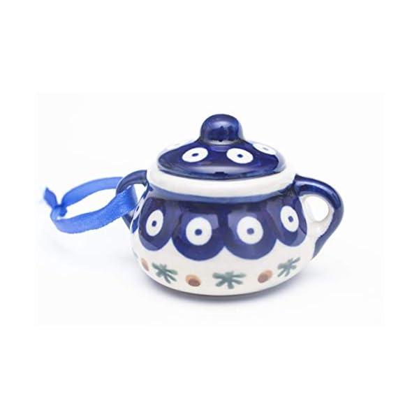 "Manufaktura W Boleslawiec Polish Pottery Accented Peacock Blue Dot Sugar Bowl Handmade Ceramic Christmas Ornament, 3.25""Dia. x 2.5""H"
