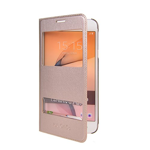 Galaxy On5 2016 Funda,COOLKE Diseño de ventana Flip Funda Con Soporte Plegable Carcasa Funda Tapa Case Cover para Samsung Galaxy On5 2016 - Rose Oro Oro