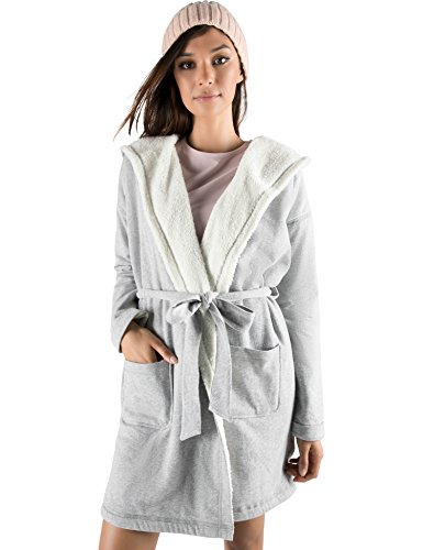 Rebel Canyon Young Women's Lightweight French Terry Hooded Robe with Front Pockets X-Large Grey Heather Canyon Cotton Robe