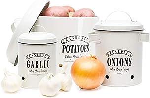 Granrosi Vorratsbehälter Set - Kartoffeltopf, Zwiebeltopf und Knoblauchtopf im Vintage Design für eine stilvolle...