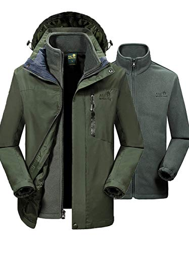 Skating Couple - SEFON Couple 3in1 Mountain Camping Jacket Waterproof Windproof Outerwear Removable Hooded Outdoor Coat(Army Green(Men),US S/Asian XL)