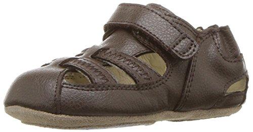 (Robeez Boys' Sandal-Mini Shoez Crib Shoe, New Brown, 12-18 Months M US Infant)