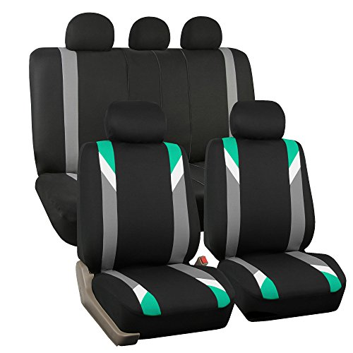 FH GROUP FH-FB033115 Premium Modernistic Seat Covers Airbag & Split Ready,Mint / Black- Fit Most Car, Truck, Suv, or Van by FH Group