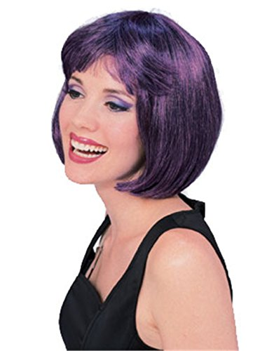 Dark Purple Short Super Model (Womens Black Super Model Wig Costumes)