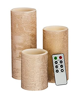 Cypress Home Rose Gold Battery Operated Flameless LED Wax Pillar Candle with Remote, Set of 3