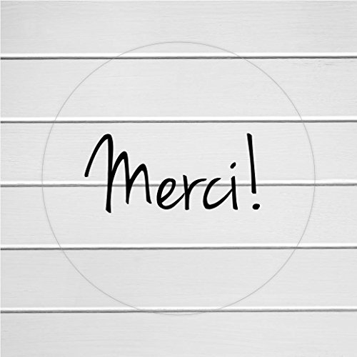 Clear transparent thank you labels merci stickers 113 c