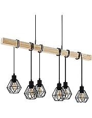Eglo Townshend 5 lampa wisząca, stal, 60 W, czarna, brązowa