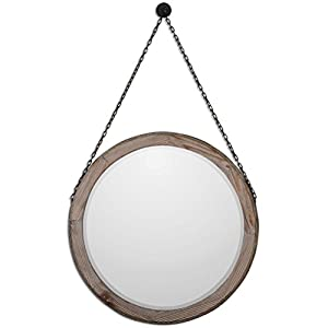 mirror on chain. colte rustic lodge bronze chain hanging round fir wall mirror on i