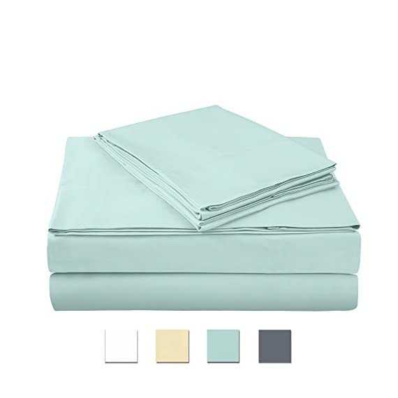 "400 Thread Count 100% Cotton Sheet Set, Aqua Queen Sheet Set, 4-Piece Long Staple Combed Pure Cotton Best Sheets for Bed, Breathable, Soft & Silky Sateen Weave Fits Mattress Upto 18"" deep Pocket - AXIA offers a 100% Long Staple Cotton Sheet Sets HIGHEST QUALITY BEST COTTON SHEETS: Authentic 400 thread count per square inch, 100% cotton fabric made from long staple fibre and compact yarn with Sateen weave to provide luxurious soft feel with lustre, elegance and comfort. These sheets are fade-resistant and ecofriendly. High quality color dyes for safety & long lasting color fastness; fully elasticized fitted sheet with deep pockets. Product Dimensions - Flat sheet: 90"" x 102""; Fitted Sheet: 60"" x 80"" + 15 "" deep pocket; 2 Pillow Cases: 20"" x 30"" (Standard Pillow Case):- 4 piece Luxury 400 TC sheet set include a flat sheet , fitted sheet and 2 pillow cases in various colour options. - sheet-sets, bedroom-sheets-comforters, bedroom - 41EvUnTuZRL. SS570  -"