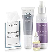 NuFACE Keep Glowing Collection Skincare Kit   Use with NuFACE Device   Smoother Skin, Reduce Wrinkles, Hydrating Renewal   Kit includes: Gel Primer, Optimizing Mist, Serum and Cleansing Cloths
