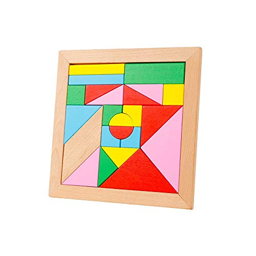 Pkjskh Tangram Children's Puzzle Toy Wooden Jigsaw Puzzle 23 Blocks Building Blocks Toy Parent-Child Interaction Puzzle Early Education Toys Environmental Protection Camphor Wood Safety and Health ()
