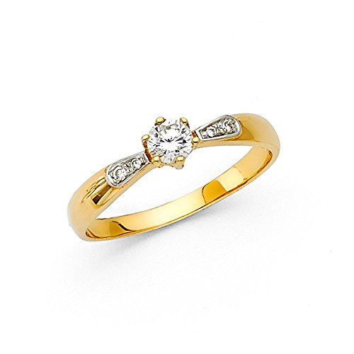 (TWJC 14k Yellow Gold SOLID Wedding Engagement Ring - Size 6.5)