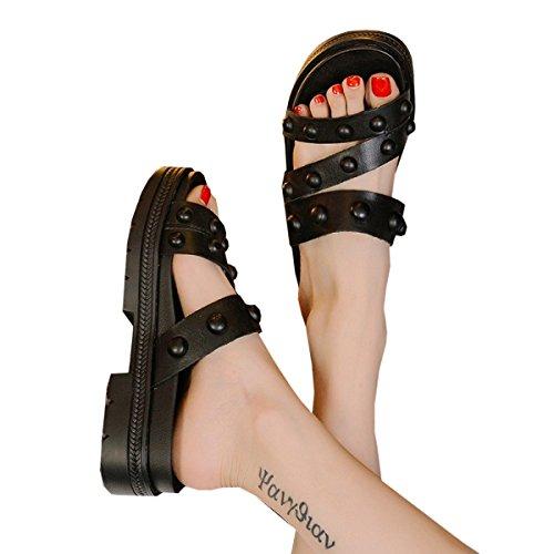 Dfb Nero Per Il Spessore Pantofole Freddi Di Signore Maree Di Le Inferiore Maniche In Donne Scarpe Pistoni 37 Pantofole Donne Pelle 4dHwx4