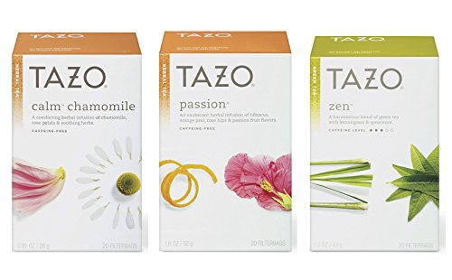 Tazo Assorted Tea Sampler 20ct Calm Chamomile, Passion, Zen Green Tea, Pack Of ()