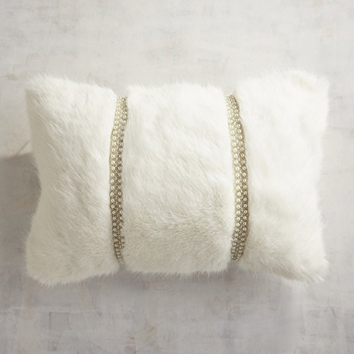 Pier 1 Imports Beaded Faux Fur Ivory Lumbar Pillow (Set of (Beaded Throw Pillow)