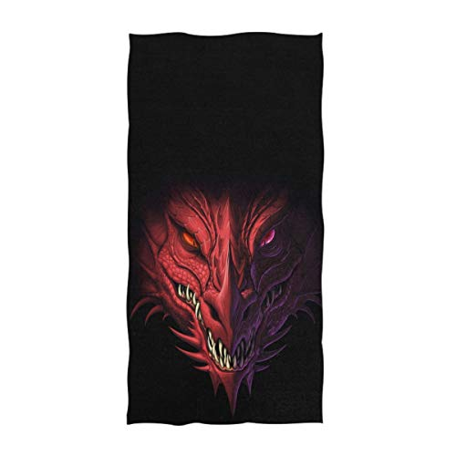 Dragon Design Beach Towel - Naanle 3D Magic Angry Red Dragon Head Print Soft Absorbent Guest Hand Towels Multipurpose for Bathroom, Hotel, Gym and Spa (16 x 30 Inches,Black)