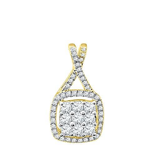 Sonia Jewels Size 7-10k Yellow Gold Round Diamond Framed Square Cluster Pendant (1/2 (9k Gold Diamond Pendant)
