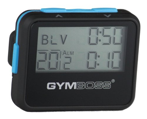 Gymboss Interval Timer and Stopwatch - Black/Blue SOFTCOAT (Best Run Walk Interval App)