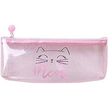Amazon.com: Pink Transparent Pencil Case Cute Cat Plastic ...