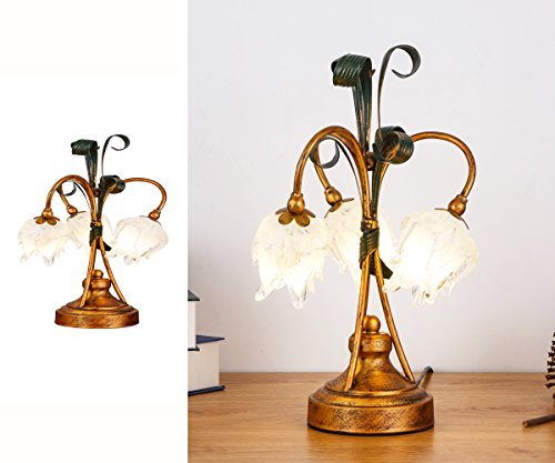 SALSA LIGHTING Crafted Table Lamp,Colored Crystal Flower Accent Shaped Glass Shade Desk Lamp with Bronze Base for Art Deco, Bedside,Bedroom,Dining Room,Living (Art Deco Bronze Table Lamp)