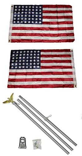 ALBATROS 2 ft x 3 ft 2x3 48 Star USA American 2ply Flag Aluminum with Pole Kit Set for Home and Parades, Official Party, All Weather Indoors Outdoors
