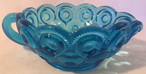 Handled Nappy / Gravy Boat - Moon and Star - Colonial Blue Glass - Weishar USA