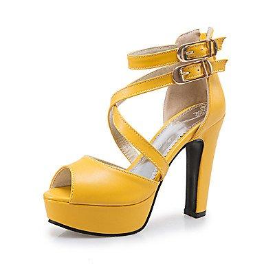 LFNLYX Sandalias mujer Primavera Verano Otoño otros PU Parte & Chunky talón casual, vestido de noche amarillo blanco negro Otros Otros White