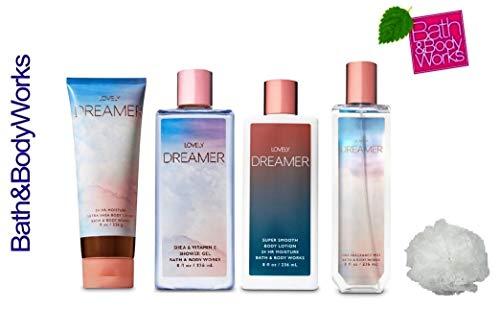 Bath and Body Works LOVELY DREAMER Deluxe Gift Set Lotion ~ Cream ~ Fragrance Mist ~ Shower Gel + FREE Shower Sponge Lot of 5