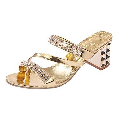 LvYuan Mujer-Tacón Bajo-Confort-Tacones-Informal-PU-Plata Oro Gold