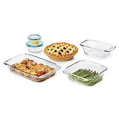 OXO Good Grips 8 Piece Freezer-to-Oven Safe Glass Bake, Serve and Store Set