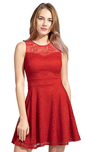 Sylvestidoso Women's A-Line Sleeveless Pleated Little Red Cocktail Party Dress Full Lace (XL, Red)