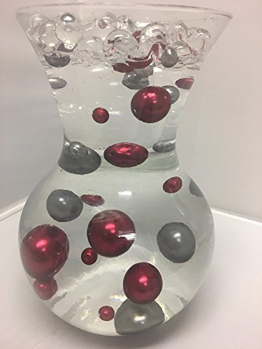 Easy Elegance by JellyBeadZ Red and Dark Silver Pearl Beads Included a 12 Gram Pack Clear JellyBeadZ Water Bead Gel Pearls