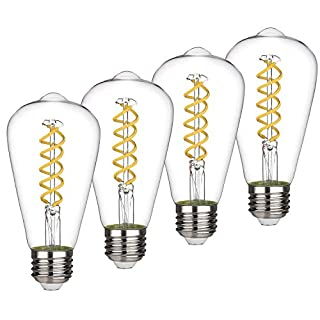 ST19(ST64) 8W Vintage Edison LED Bulb, Daylight White 5000K, Antique Flexible Spiral LED Filament Light Bulb,800Lm Dimmable, 8W Equivalent to 80W, E26 Base,Clear Glass (8W-5000K-4 Pack)