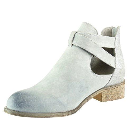 Angkorly - Chaussure Mode Bottine chelsea boots cavalier effet vieilli femme brillant lanière boucle Talon bloc 3 CM - Gris
