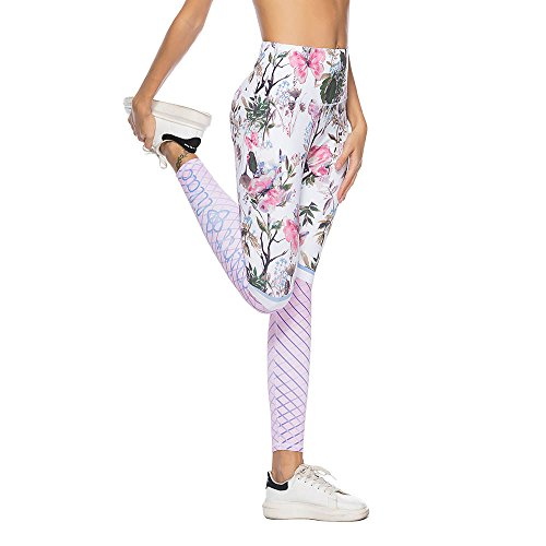 d5c732e98d Mint Lilac Women's High Waist Printed Yoga Pants Full-Length Tummy Control  Workout Leggings