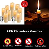 YIWER Flameless Candles Set of 9 Ivory Dripless