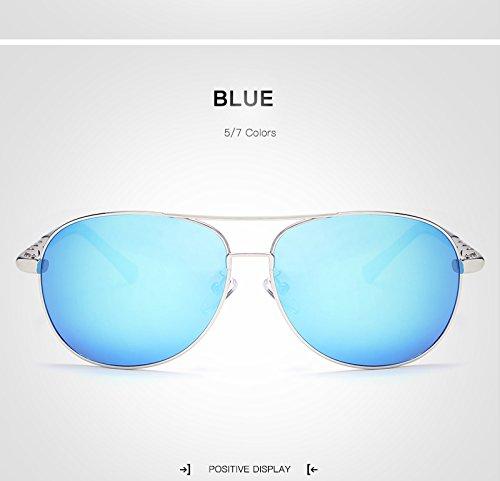 sol marco UV400 grandes para de Gafas de conducción Gafas sol sol Gafas de moda Gafas adultos Espejo para sol unisex sol Gran de Gafas de de de XZP Polaroid sol Blue de Rt7q4xatp