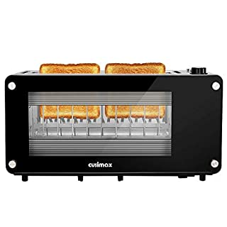 CUSIMAX Glass Toaster 2 Slice Long Slot Toasters with Window, Bagel Toaster, Artisan Bread Toaster Stainless Steel Wide Slot with Automatic Lifting, Slide-out Glass Panel and Removable Crumb Tray