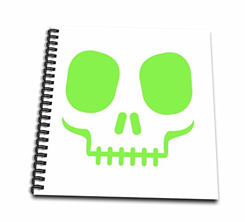 3dRose Green Scary Halloween Skull Face Drawing Book,