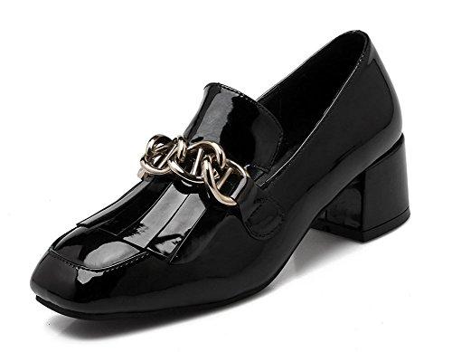 Chfso Womens Décontracté À Franges Chunky Mi-talon À Bout Carré Oxfords-chaussures Noir
