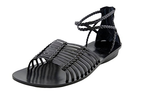 B. MAKOWSKY Women's Glenda Blk Leather Strap Flat Sandals Shoes (Makowsky Black Leather)