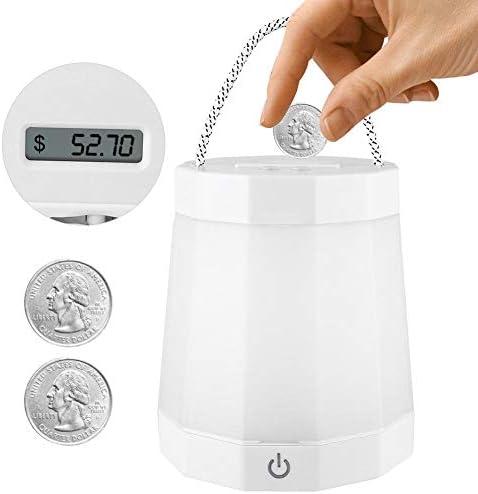 Salinr 電子デジタル LCDのお金の節約箱 デジタル貯金箱 多機能使用 コインカウントボックス ナイトライト 植木鉢 ペンホルダー