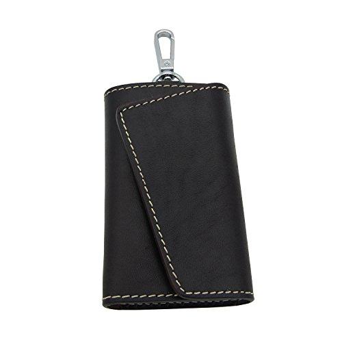 BESYL Dark-Brown Genuine Leather Car Key Case ID Card Holder Wallet with 6 Hooks Keychain Keyring for Men & (Six Hook Key Case)