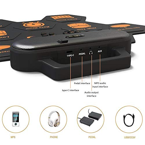 Womdee Electronic Drum Set, [2020 Newest] Roll-Up 9 Pads Electric Drum Set with Metronome, Headphone Jack and Built-in Speaker, 2 Foot Pedals, Lithium Battery, for Kids Beginners