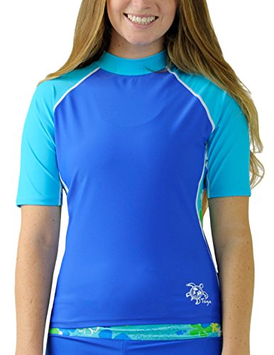 Tuga Women's Short Sleeve Rash Guard, UPF 50+ Sun Protection Swim Shirt