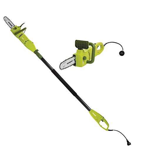 (Sun Joe SWJ806E 8-Inch 8.0 Amp 2-in-1 Convertible Pole Chain Saw, Green)