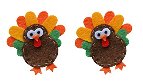 HALLOWEEN Hair Clip Set of 2 for Toddlers & Girls Handmade by Funny Girl Designs (YELLOW TURKEYS) -